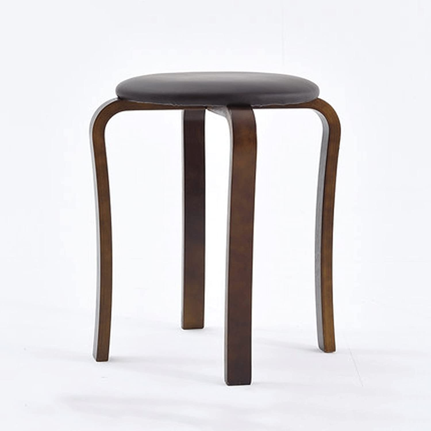 Simple Round Chair Dining Chair Solid Wood Home high Stool Adult Table Simple Stool Fashion Creative Small Bench Modern Restaurant (color   A)