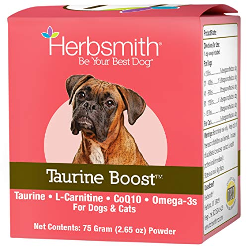 Herbsmith Taurine Boost - Cardiac and Heart Support for Dogs and Cats - Taurine Supplement for Dog and Cat Heart Health – with CoQ10, Taurine and L-Carnitine for Dogs - 75g