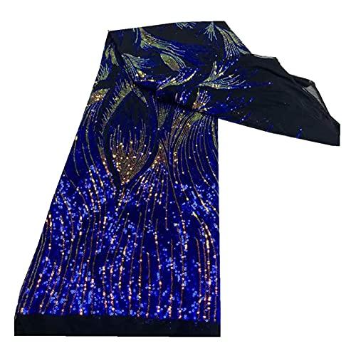 WanXingY Vertraute nigerianische Hochzeit Tüll Spitze Hohe Qualität 2021 Afrikanisches französisches Net Mesh Stoff mit Coloful Kleine Pailletten Fabracs (Farbe : Blau, Größe : 120CM)