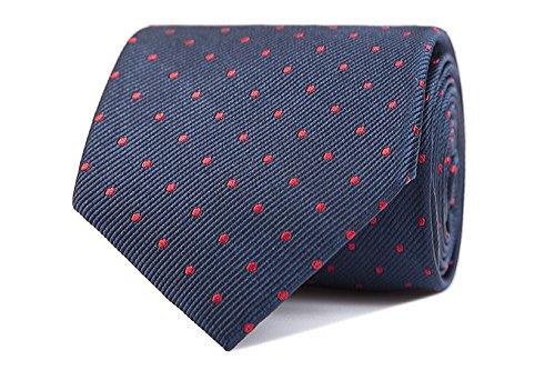 Sologemelos - Cravate Pois - Bleu Rouge 100% soie naturelle - Hommes - Taille Unique - Confection artesanale Made In Italy