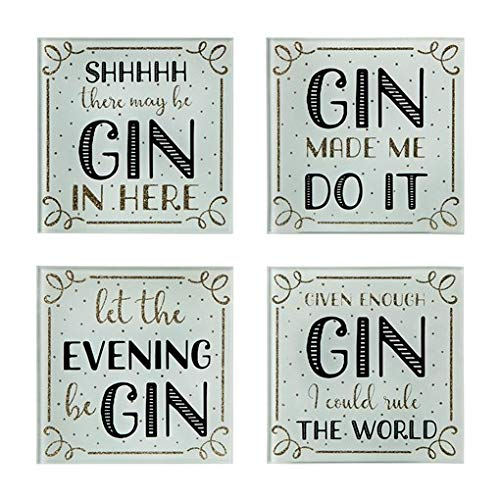 Gin Time Coasters Set of 4 Glass Glitter Gold Black Party Home Decorative Gift