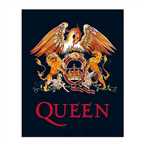 Queens Logo-Crest-Emblem Vintage Wall Art- 8 x 10 Wall Print- Ready To Frame- Classic Music Poster Replica Print. Home Decor-Studio-Bar-Man Cave Decor. Great Rockabilia Gift For All Queen Fans.