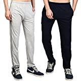 White Moon Men's Stylish Slim Fit Cotton Jogger Lower Track Pants for Gym, Running, Athletic, Casual Wear Combo Pack of 2 for Men Multicolour Size (L) Grey,Navy