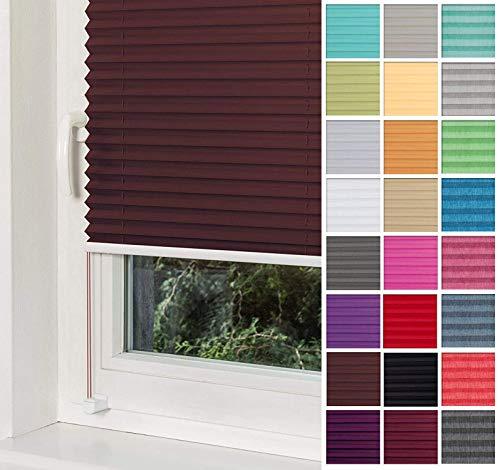 Home-Vision® Premium Plissee Faltrollo ohne Bohren mit Klemmträger / -fix (Braun, B35cm x H100cm) Blickdicht Sonnenschutz Jalousie für Fenster & Tür