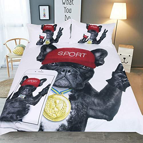 Bxnthd Textile de Maison 3D Chien Animal Boxer Ensemble de literie Ensemble Housse de Couette imprimée Taie d'oreiller 240 x 260 cm, Literie pour Enfa