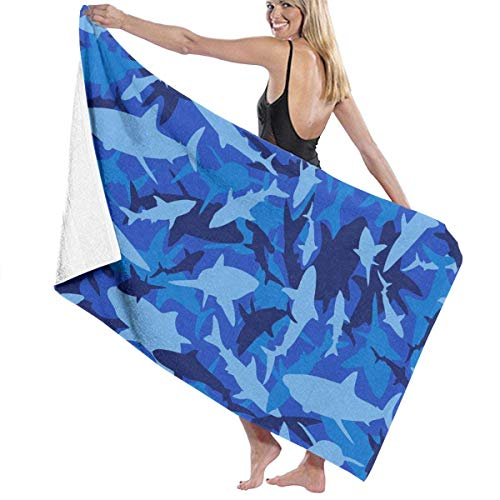 fjfjfdjk Shark Camo Beach & Bath Towel Soft Cotton Microfiber Towels Pool/Beach/Bath Towels Gifts 32'' 52''