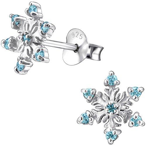 JAYARE Ohrringe Mädchen Schneeflocke Weihnachts-Sterne X-mas 925 Sterling Silber Zirkonia aquamarin-blau Kinder Ohrstecker