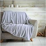 Überwurf mit Waffelwabenmuster, weich, warm, Überwurf für Sofa, Bett, Reise, Tagesdecke, Grau / Silber, Doppelbett – 150 x 200 cm
