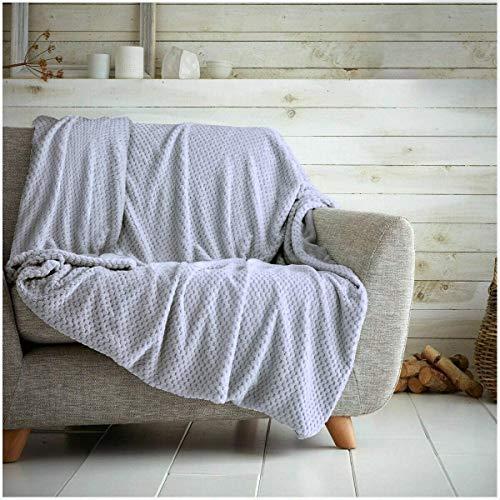 Überwurf mit Waffelwabenmuster, weich, warm, Überwurf für Sofa, Bett, Reise, Tagesdecke, Grau / Silber, Einzelbett – 125 x 150 cm