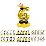 Unishop Cumpleaños Globos Foil Metálico Globos de Números Gigante Oro Plata Globos para Fiesta de Cumpleaños Aniversarios Globos Numeros para Cumpleaños Fiesta Decoración (Oro 6)