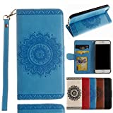 Black Deals Friday Deals-iPhone 8 Wallet Case,for iPhone 7 Wallet Case,Valentoria Mandragora Flower Premium Vintage Emboss Leather Wallet Pouch Case with Wrist Strap for iPhone 8/7 4.7inch(Turquoise)