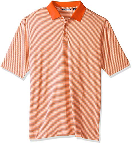 Cutter & Buck Men's Big Moisture Wicking Drytec UPF 50 Forge Tonal Stripe Polo Shirt, College Orange, 3X Tall