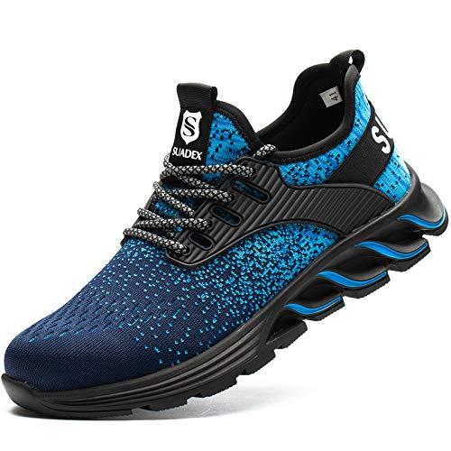 [JACKS HIBO] 安全靴 ブルー あんぜん靴 メンズ レディース作業靴 通気性 鋼先芯 セーフティーシューズ 耐摩耗 工事現場 防刺 耐滑 ワークシューズ安全靴