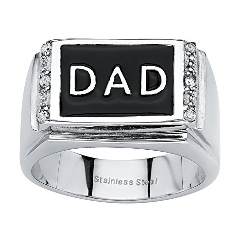 Palm Beach Jewelry Men's Stainless Steel Black Enamel Round Crystal Dad Ring Size 12