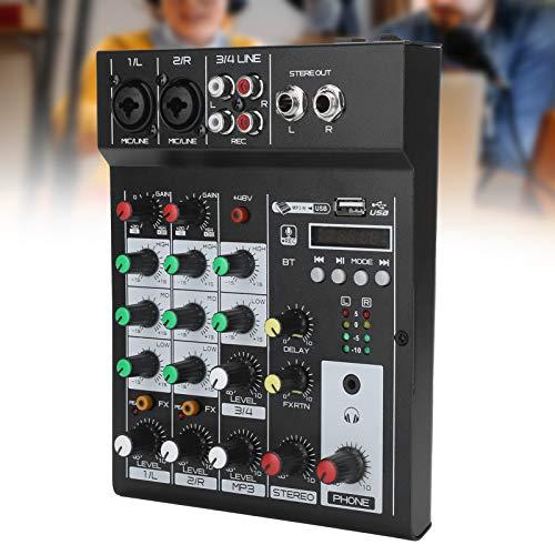 Consola de mezclas BT Diseño profesional Cómodo de usar Mezclador de audio portátil de 4 canales fácil de instalar Ligero para webcast de karaoke en casa(Transl)