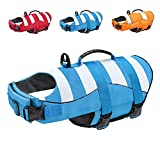Malier Dog Life Jacket, Ripstop Dog Life Vest Adjustable Dog Life Preserver with Strong Buoyancy and Durable Rescue Handle Dog Jacket for Small Medium Large Dogs Swimming Boating (Blue, X-Small)