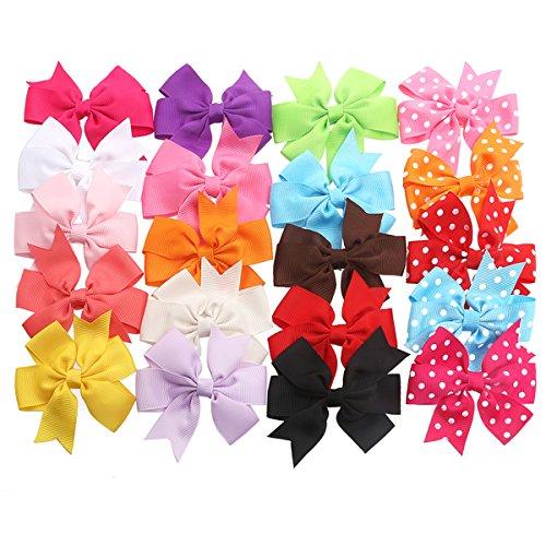 TinkSky Set aus 20 Haarschleifen - Haarclips / Haarspangen, 15 Unifarben und 5 mit Punkten, Band geriffelt auf Krokodilspange / Alligatorspange, für Babies, Mädchen oder junge Frauen