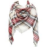 SUNDAY ROSE Women Plaid Blanket Scarf Oversized Tartan Scarves Long Shawl Wraps-White