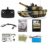 MODELTRONIC Tanque Radio Control Heng Long USA Abrams M1A2 Escala 1/24 versión con batería Litio, emisora 2.4G con Sonido, Airsoft, Infrarrojos