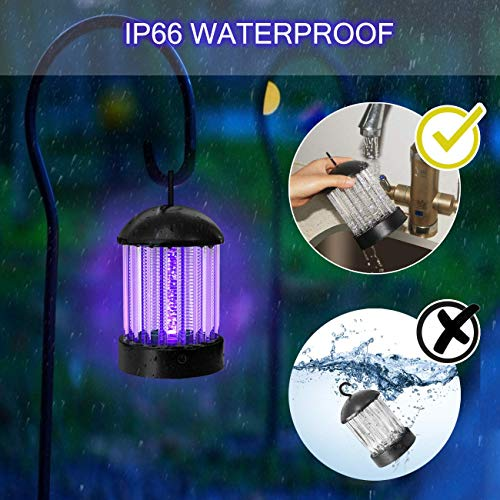 okk Electronic Bug Zapper Indoor and Outdoor, Portable Mosquito Killer Lamp Waterproof IP66 Insect Killer Trap with LED for Flies,Pests and Gnats, 2020 Updated Mosquito Light with Button [2-in-1]