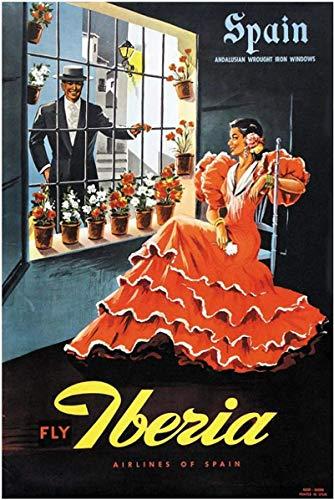 Pintura De La Lona 60x90cm Sin Marco Carteles de viajes de turismo de España Iberia - España pared clásica decoración de bar para el hogar vintage regalo