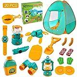 ZNCMRR 20 PCS Kids Tent Camping Set, Camping Gear Set Pretend Play Camping Equipment Tool Set,...