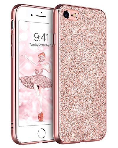 DOMAVER Funda para iPhone 8 iPhone SE 2020 iPhone 7 funda para teléfono móvil brillante Case delgada ajuste ligero Girly Bling Sparkly funda para niñas mujeres iPhone 7 8 SE 2020 – oro rosa