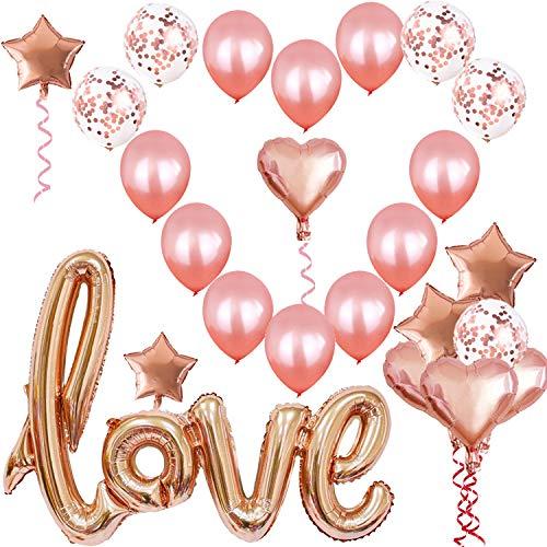 2021 Kit de Decoration Mariage,27 Pièces Décoration Romantique Ballons Deco Mariage,Ballon Love XXL,Kit Saint-Valentin Décoration,Ballons de Confettis Ballon Coeur Décoration pour Déco Fiançailles