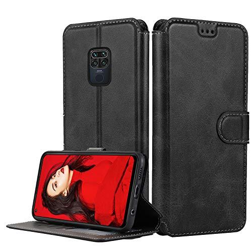 LeYi Hülle für Xiaomi Redmi Note 9 / Redmi 10X 4G Mit HD Folie Schutzfolie,Leder Handyhülle Stoßfest Wallet Magnet Schutzhülle Tasche Slim Silikon Bumper TPU Hülle für Handy Redmi Note 9 Matt Schwarz