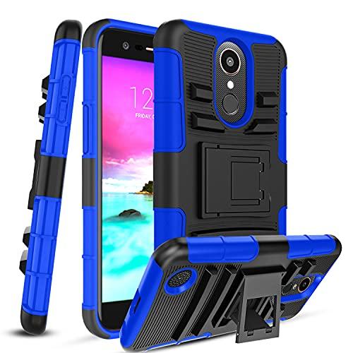 Innge Compatible with LG Aristo 2 Case,Aristo 3/Aristo 3 Plus/Tribute Dynasty/Fortune 2/Phoenix 4/Tribute Empire/k8+/Zone 4/Rebel 4 w/PCS Screen Protector&Kickstand,Protective Phone Case Cover,Blue
