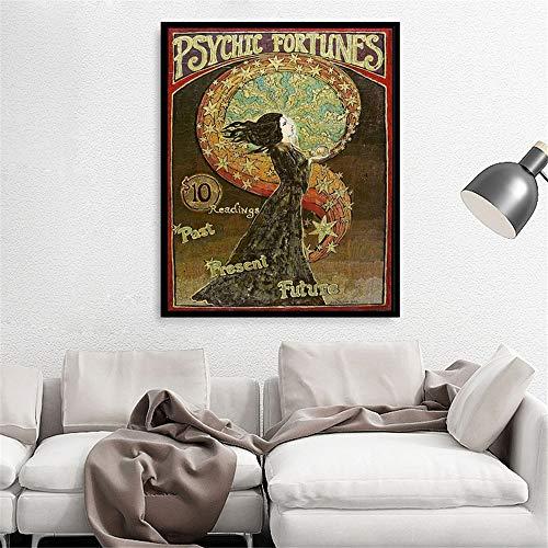 Danjiao Psychic Fortunes Print Jugendstil Gypsy Circus Giclée Leinwanddruck Pagan Mythology Psychedelic Bohemian Goddess Poster Wohnzimmer 40x60cm