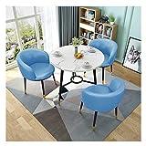 ZCXBHD Retro Esstisch und Stühle, Runder Esstisch aus Holz mit 3 x PU Ledersessel Metallfuß rutschfest/langlebig for Wohnzimmer Lounge Büro  (1 Tisch + 3 Stühle) (Color : Sky Blue)