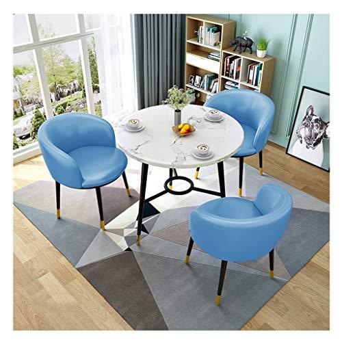 ZCXBHD Retro eettafel en stoelen set, Houten ronde eettafel met 3 x PU lederen stoelen Metalen voet Anti-slip/duurzaam voor Living Room Lounge Office (1 tafel + 3 stoelen)