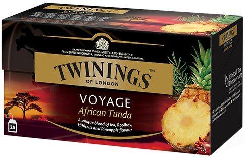 Twinings Voyage - African Tunda - Tè nero Aromatizzato con Ananas, Rooibos e Karkadè -Dal Sapore Dolce e Succoso - Profumo Intenso che Risveglia i Sensi ed Evoca le Calde Pianure Africane (25 Bustine)