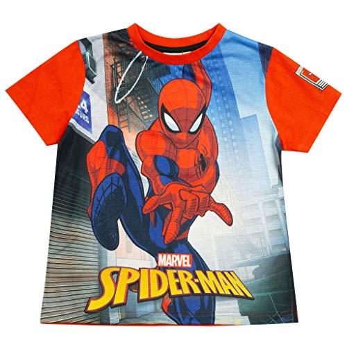 Marvel Comics Spider-balanceo del Hombre por la Ciudad Camiseta de los Muchachos Rojo 3-4 años