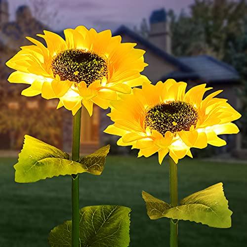 Luz Solar Jardín Exterior, ZVO LED Luces Solares Flores de Girasoles al Aire Libre, Lámpara de Jardín de Impermeable IP65 con tallos ajustables y hojas Decoración para Patio Césped Parque Paisaje