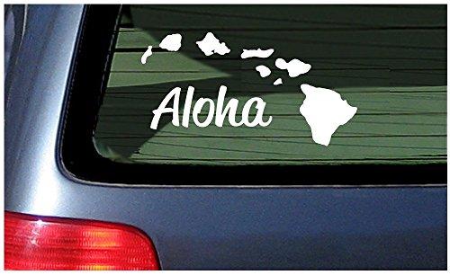 Adhesivo de vinilo para ventana de Aloha with Hawaii Island Chain Decal, color blanco, 20 cm