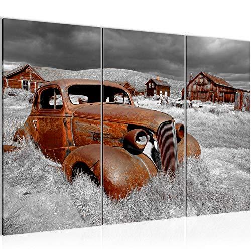 Runa Art Bilder Auto Oldtimer Wandbild 120 x 80 cm Vlies - Leinwand Bild XXL Format Wandbilder Wohnzimmer Wohnung Deko Kunstdrucke Braun 3 Teilig - Made IN Germany - Fertig zum Aufhängen 602131b