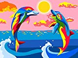 Xofjje Pintar por numeros para Adultos_Animal de delfín de Color_Pintar por numeros para Adultos_Colores Brillantes Dibujos Lienzos por numeros_40x30cm_Sin Marco