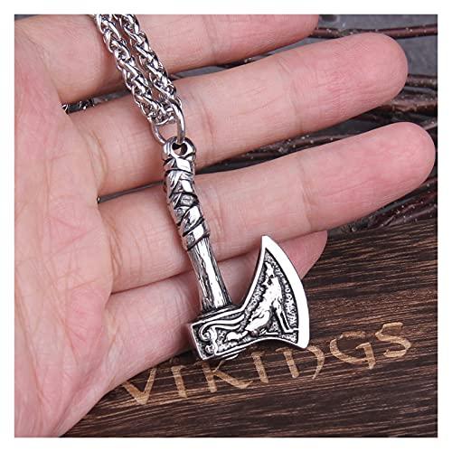 JUSTYUSHU Nunca se desvanece Lobo y Cuervo amuletos eslavos talismanes Vikingo Odin Hacha Collares y Colgantes Norse Vikings Joyería Hombres turcos Wicca (Length : 50cm)