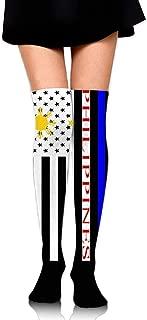 Funny Gift Woman Over The Knee Stockings Sock American Philippines Flag Soccer Sportswear Running High Long Socks Tube Stocking