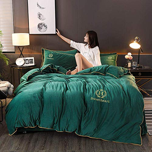 Teddy Fleece Warm Bedding Sets,Flannel Solid winter duvet cover,quilts cover bedding warm comforte bedsheets Single Double Super King Green 2 200 * 230cm(4pcs)