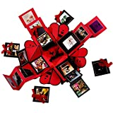Crafted with passion Explosion Box for Birthday/Anniversary/Wedding/All Occasion (Red)