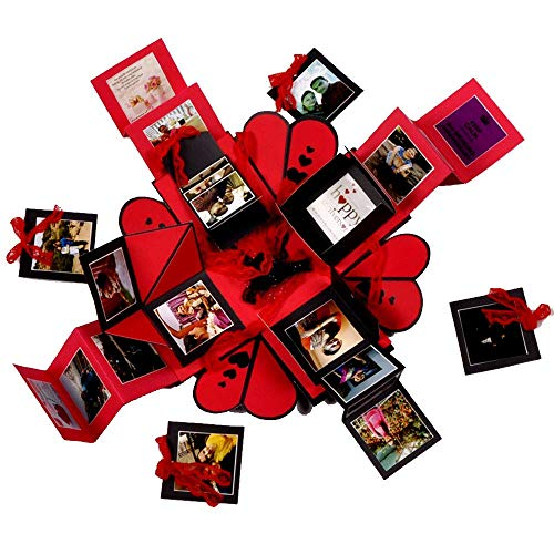 Crafted with passion Explosive Box for Birthday/Anniversary/Wedding/All Occasion (Red)
