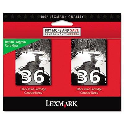 Lexmark 18C2236 (36) tinta, 175 páginas de rendimiento, 2 unidades, color negro