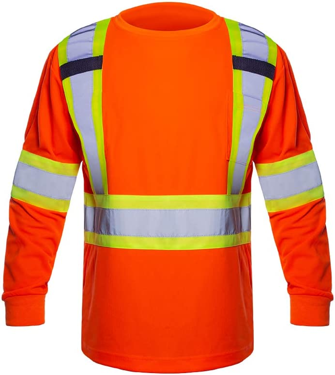 Men's Class 2 Hi Vis Shirt Long Orange Safety Very popular! T-Shirt Sleeves Si We OFFer at cheap prices