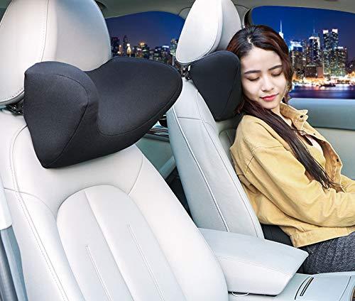 HommyFine Cuscino Poggiatesta Auto in Tessuto Scamosciato e Schiuma di Memoria, Ortopedico Cuscino Collo Auto, Cuscino Cervicale Auto, Cuscino Supporto del Collo per Seggiolino Auto