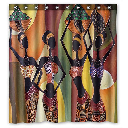 KXMDXA Distinctive Cartoon African Woman Waterproof Bathroom Shower Curtain Polyester Fabric 66x72 inches