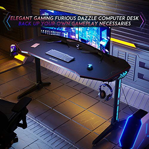 ELEGANT 55 inch Gaming Desk with Led Lights,T-Shaped Office PC Computer Desk with Full Desk Mouse Pad,Stand Cup Holder&Headphone Hook (Black)