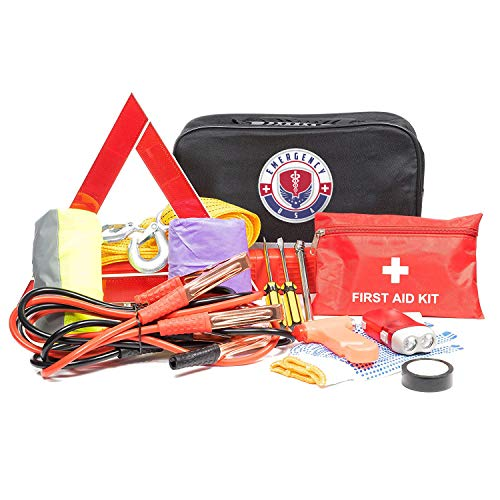 Roadside Assistance Emergency Car Kit - First Aid Kit, Jumper Cables, Tow Strap, led Flash Light, Rain Coat, Tire Pressure Gauge, Safety Vest and More Ideal Winter Accessory for your Car, Truck or SUV